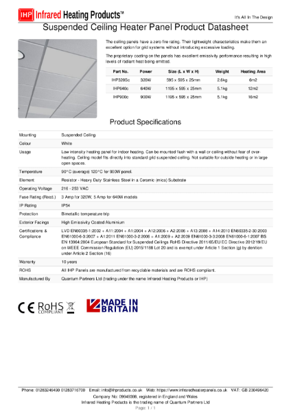IHP Suspended Ceiling Infrared Heater Panel Datasheet