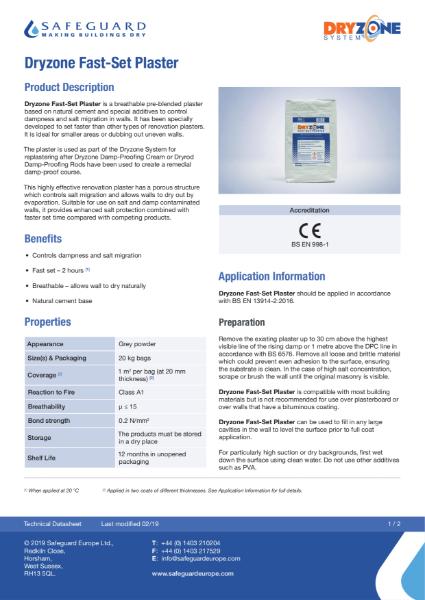 Dryzone Fast-Set Plaster Data Sheet