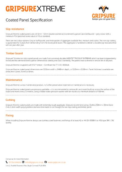 Decking tech sheet - Gripsure Xtreme non-slip coated panels