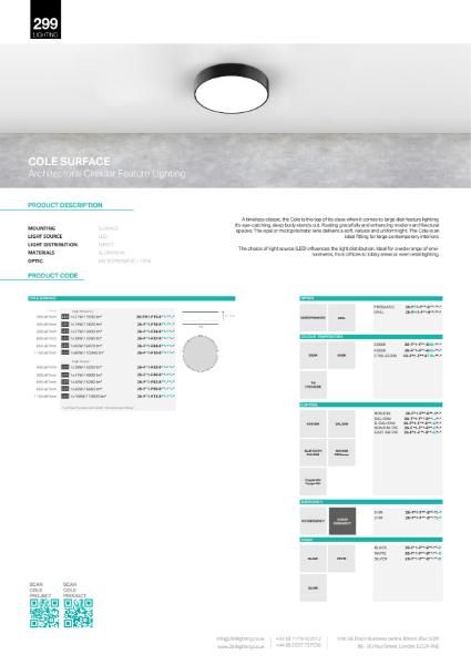 Cole Surface Feature Lighting Datasheet