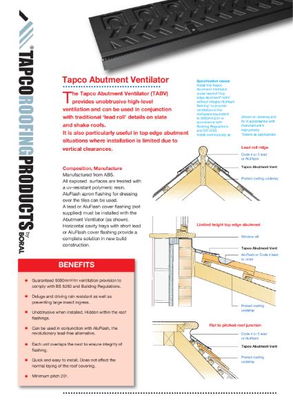 Tapco Abutment Vent Technical Guide