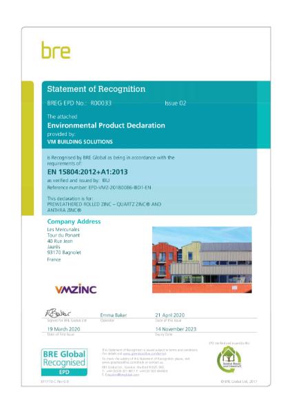 BRE Certification EN15804 Pre-Weathered Rolled QUARTZ & ANTHRA