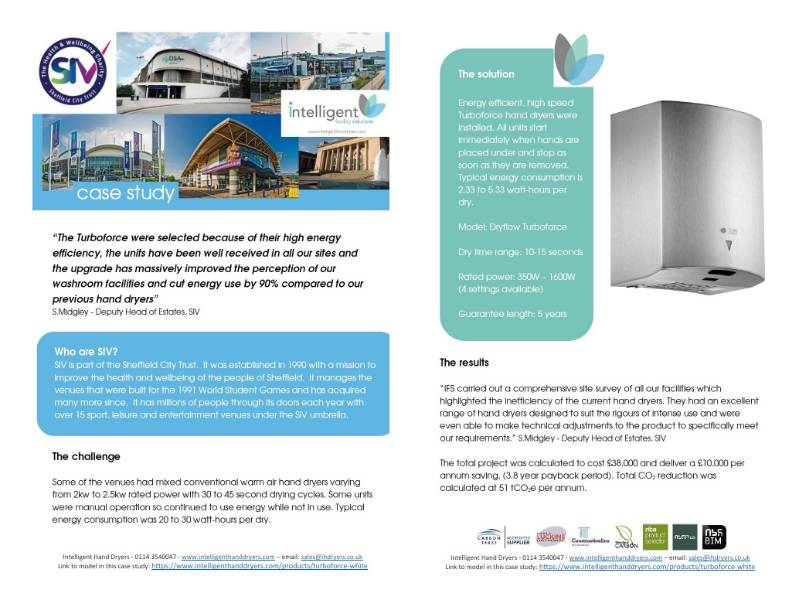 Hand Dryer Case Study (Large leisure and sports facilities) - SIV, Sheffield