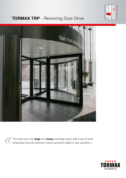 TORMAX TRP Revolving Door Drive - for larger diameter entrances