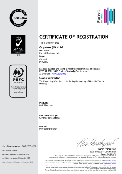 Gripsure PEFC™ Certificate - BMT-PEFC-1638