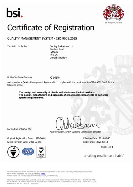 DI Ltd ISO9001:2015 Certificate