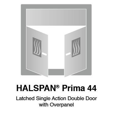 HALSPAN® Prima 44 mm Internal Fire Rated Door Blank - Latched Single Acting Double Doors With Overpanel