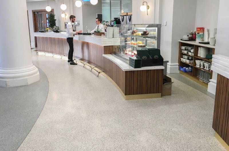Modern Seamless Terrazzo Flooring for Historic Spanish City