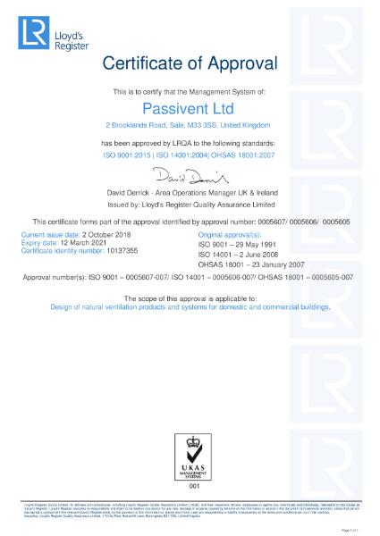 Passivent ISO 9001 14001 OHSAS 18001 Certificate
