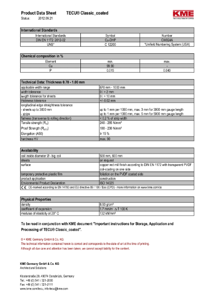 KME TECU Classic Copper Datasheet