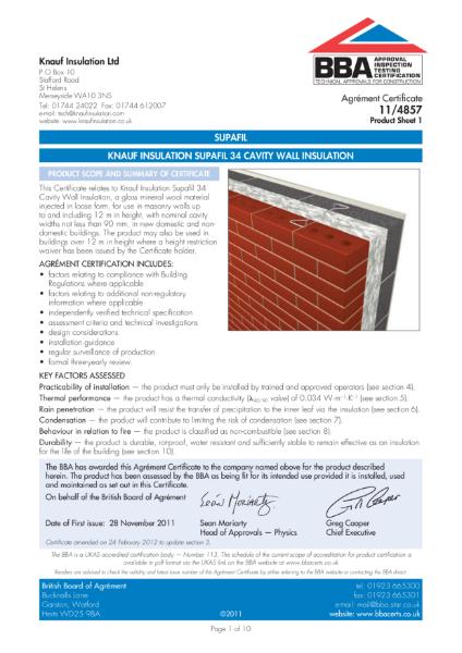 11/4857 Supafil 34 Cavity Wall Insulation