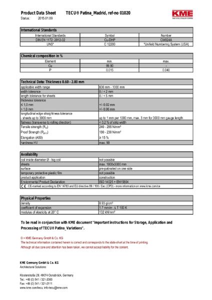 KME TECU Patina Madrid Copper Datasheet