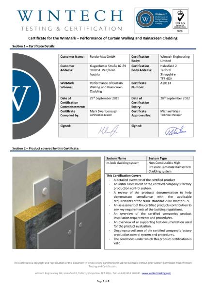 Winmark Certificate m.look