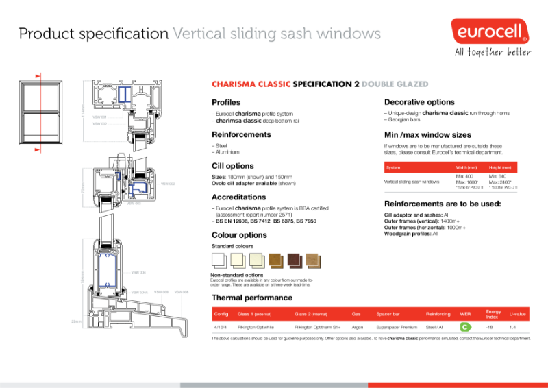 Charisma Vertical Slider Windows Classic Steel Ali Product Specification