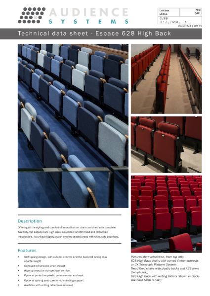 Espace 628 High Back chair: Suitable for retractable, removable, auditorium and theatre seating