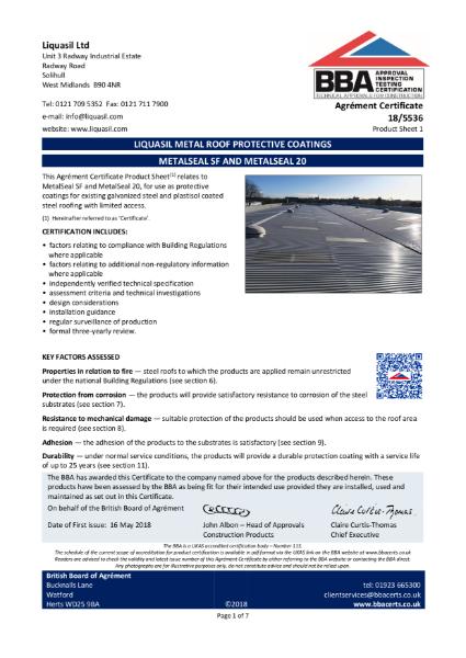 FlexLap, Liquasil Metal Roof Protective Coatings, Product Sheet 2 - Certificate: 18/5536