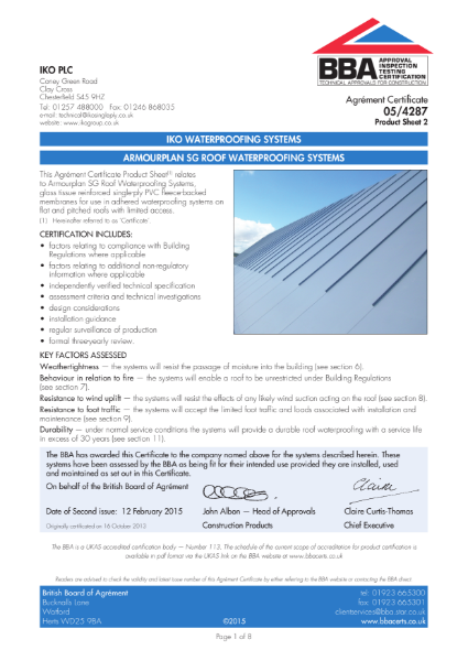 05/4287_2 Armourplan SG Roof Waterproofing Systems