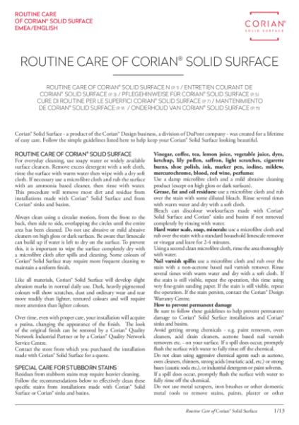 Corian® Use & Care Guidelines