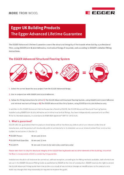 EGGER Advanced Flooring System Guarantee