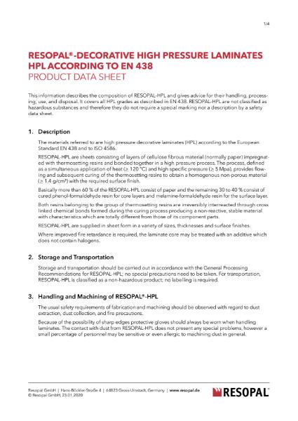 Resopal - HPL Product Data Sheet