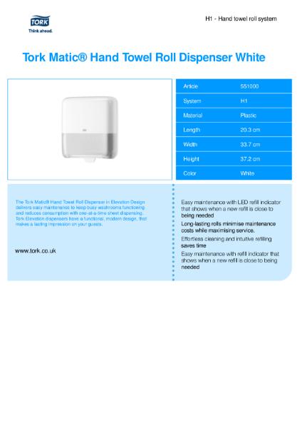 Tork Matic Hand Towel Dispenser White  - automatic