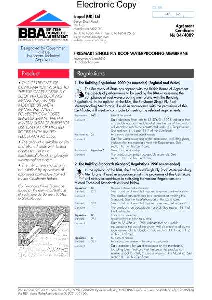 04/4089 Firesmart single ply roof waterproofing membrane