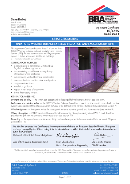10/4725 PAREXTHERM & Siniat Weather Defence Board