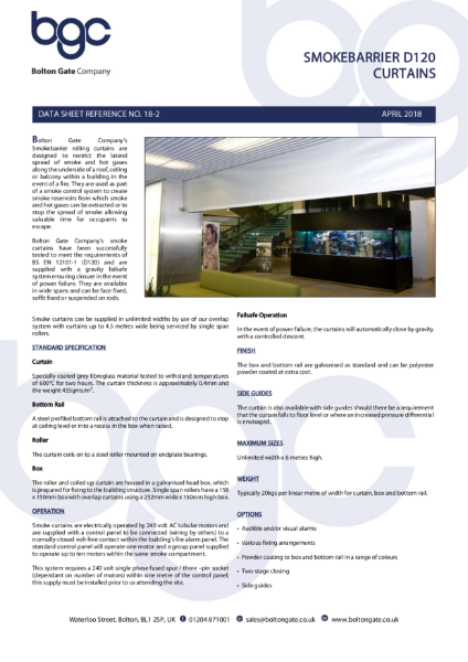 Smoke Curtain - Smokebarrier D120 Curtains