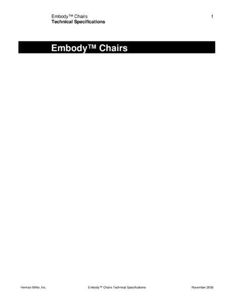 Embody Chairs - Technical Specification