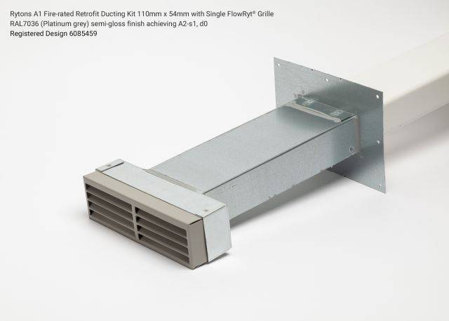 Rytons A1 Fire-rated Retrofit Ducting Kit 110mm x 54mm with Single Air Brick Grille
