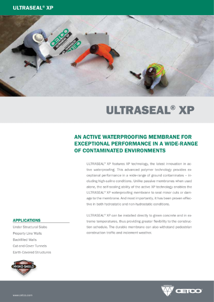 ULTRASEAL® XP - AN ACTIVE WATERPROOFING MEMBRANE FOR EXCEPTIONAL PERFORMANCE IN A WIDE-RANGE OF CONTAMINATED ENVIRONMENTS