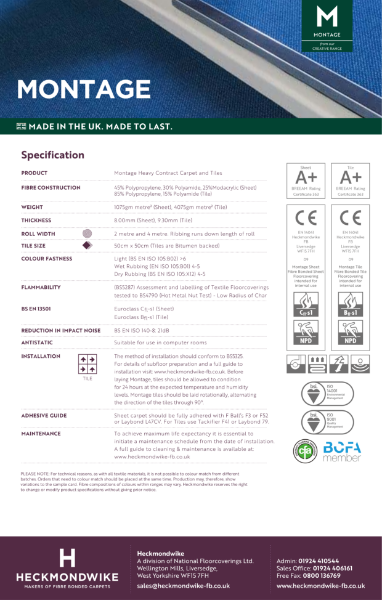 Specification Sheet - Montage Commercial Carpet and Carpet Tiles