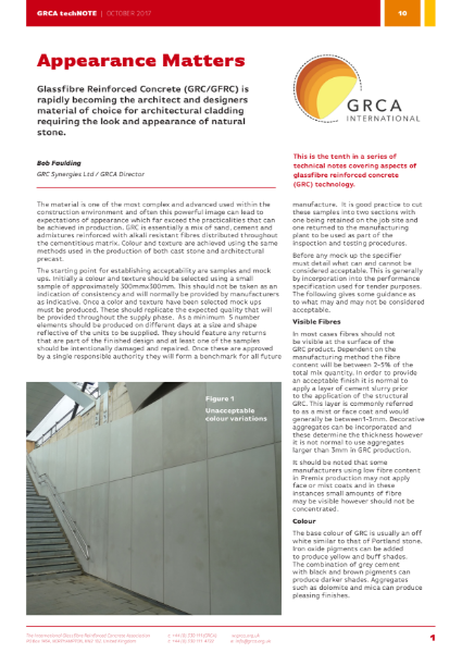 GRC/GFRC Facades – GRCA techNOTE 10 - Appearance Matters