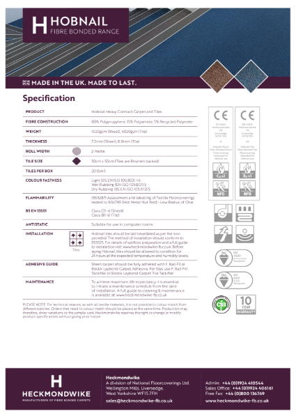 Heckmondwike - Hobnail - Specification Sheet