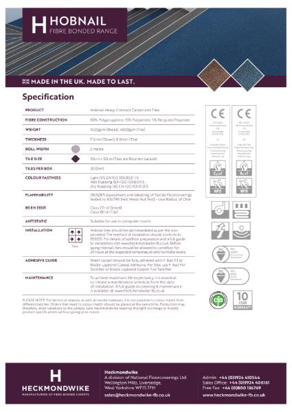 Heckmondwike - Hobnail - Specification Sheet