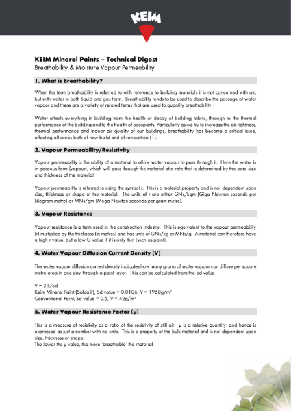 Technical Digest - Breathability & Mositure Vapour Permeability
