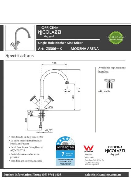 Z3306 Modena Arena technical specification.