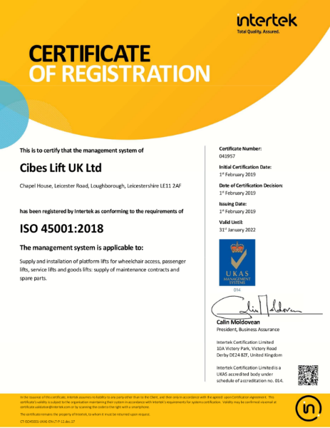 Cibes Lift UK ISO 45001