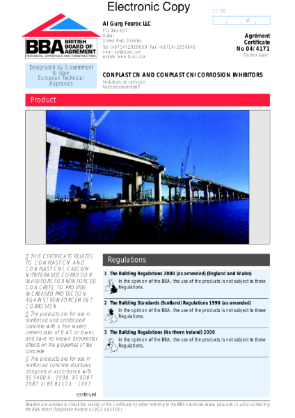 04/4171 Conplast corrosion inhibitors