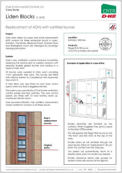 Natural smoke ventilation at 3 residential blocks