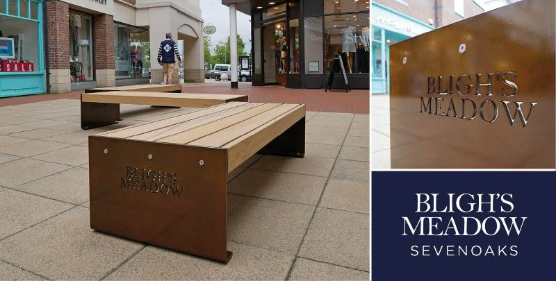 Freestanding, branded benches for Kent shopping location