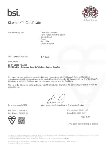 BSI Kitemark: KM 33904 Certificate