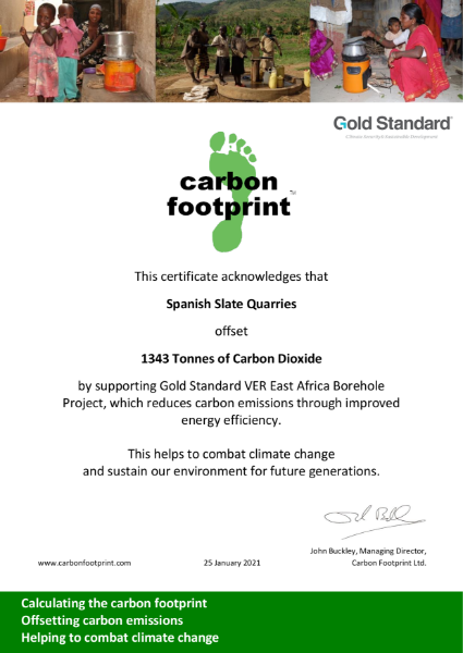 Carbon Offsetting Certificate - Spanish Slate Quarries