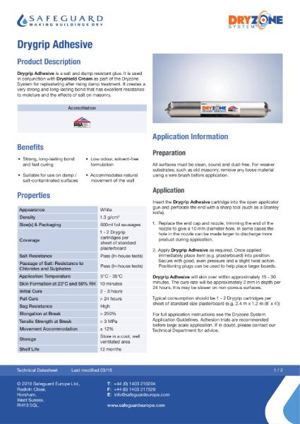 Drygrip Adhesive Data Sheet