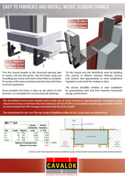 Cavalok BigBlok Closure Frame Technical Sheet