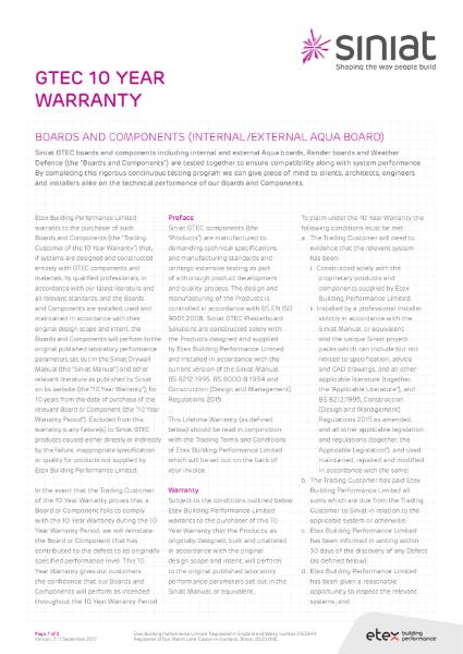 Etex Siniat GTEC 10 Year Warranty Certificate