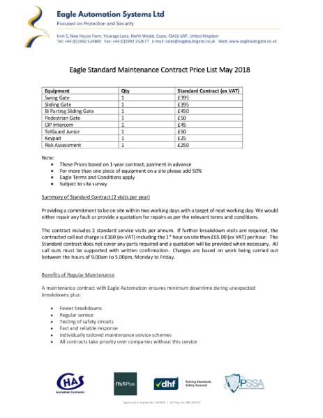 Eagle Standard Maintenance Contract Price List