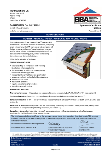 15/5283_2 IKO Enertherm ALU Insulation Board for Pitched Roofs