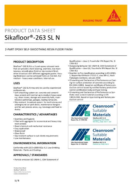 Sikafloor 263 SL N: 2-PART EPOXY SELF-SMOOTHING RESIN FLOOR FINISH