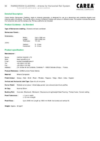 Artema Product Sheet